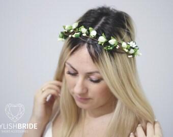 Flower Wedding Crown Headband, Wedding Hair Vine, Bridal Flower Hairpiece, Flower Bridal Crown, Flower Headband, Wedding Flower Hairpiece