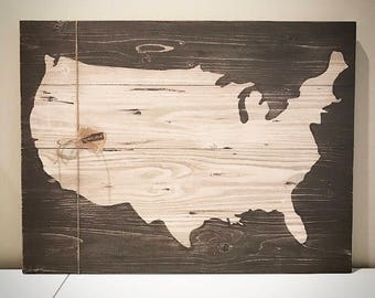 Wood Us Map Etsy - Us brown map with states