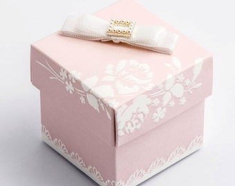 Pack of 10 Pink Shabby Chic Square Box and Lid Wedding Favour Boxes