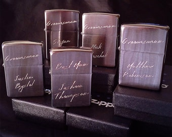 Set of 5 Personalized Zippo Lighter Brushed Chrome