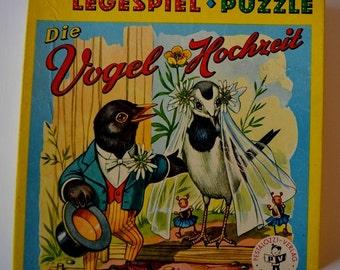 Vintage match game PuzzleVogelhochzeit illustration 1950s infant analog game retro motifs prop family game