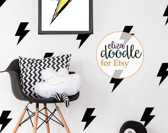 Lightning bolt wall decals / lighting strike wall stickers / bolt stickers / boys fake wallpaper / children's wall art / Vinyl Stickers
