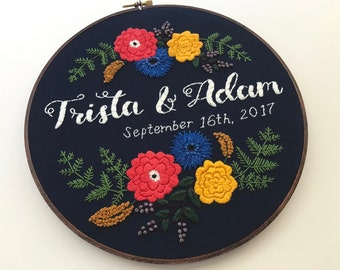 Embroidery Hoop Art Hoop Embroidery Custom Embroidery Wedding Embroidery Hoop Wedding Embroidery Anniversary Engagement Hoffelt and Hooper