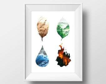 The Elements, FINE ART PRINT, Fire ,Earth, Water, Air, Nature