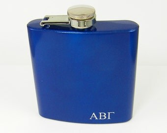 Greek Letter Flask, Personalized Flask, Greek Initials Custom Engraved Hip Flask, for Him Dad Husband