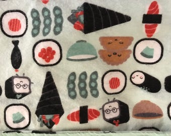 Yummy Sushi Design Front/Mint Green Back Blanket For The Stroller, Car Seat, Play Mat, Dog Or Cat Crate Or Blanket. Also For The Airplane !