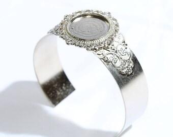 Silver Plated Cuff Bracelet Bezel,Bracelet Bangle, Cabochon Bracelet, SKU/LN1
