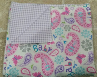 Baby girl flannel blanket