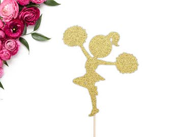 Glittery Cheerleader Cake Topper | Birthday Party Cake Topper | Cheerleading Cake Topper | Celebrate | Cheer Birthday Party Decorations