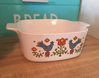 Vintage Corning Ware country festival friendship blue birds square casserole baking dish