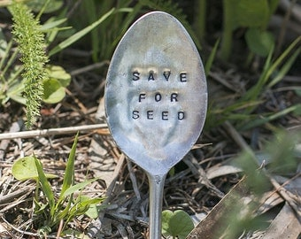 Save for seed // Upcycled cutlery garden sign // Herb garden marker // Hand stamped cutlery // Vintage silver spoons forks // Garden lover