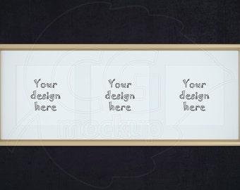 Styled stock photography, Golden frame mockup, Square frame mockup, Product mockup, Frame with matt, Set frames, Triptych wall art, PSD file