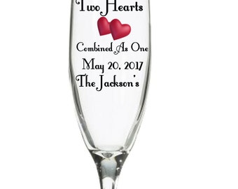 Two hearts wedding flute set of 2