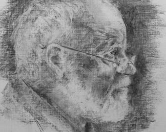 Charcoal Drawing,  'The Sculptor'