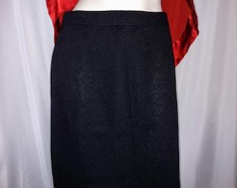 St. John Knit Skirt/Black Knit Skirt/Size 6 Knit Skirt/Black and Red Knit Skirt/90's St. John Collection/Office Skirt/Classic Skirt/Nr259