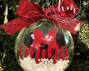 Personalized Floating Minnie Mouse Ornament