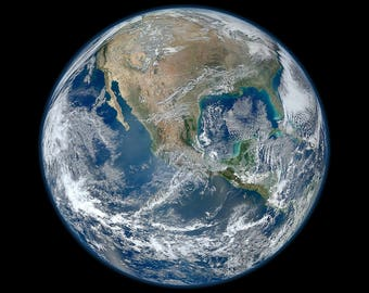 Earth Blue Marble Print, NASA Space Photography, Museum Quality Photo Art Print