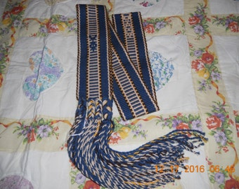 Sash/Belt, Native American, Western Wear, Hippie, Blue,Gold, Accessories, Colorful, Woven,Southwestern Clothing, Fish Design, Hippie, Beige