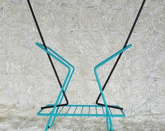 Vintage up cycled turquoise black wire metal magazine newspaper rack stand holder