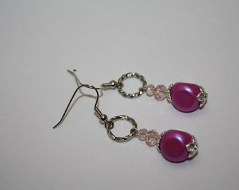 Thumb Print Earrings Handmade Touched Soul Dangle Pink Iridescent