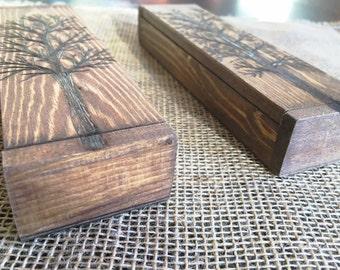 Pyrography Cigar Box/ Gift Box / Pen Case/ Groomsmen Gift Box/ Cigar Case/ Wood Jewelry Box/ Pen Box/ Pencil Case