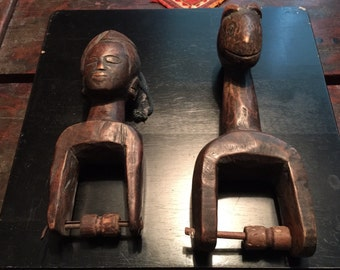 Pair of Vintage African Hand-Carved Wooden 'Toys' - Folk Art
