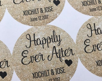 Happily Ever After, Wedding Favors, Wedding Favor Stickers, Custom Stickers, Happily Ever After Stickers, Wedding Stickers, 20Stickers