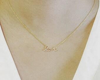 Diamond Set 'Love' Necklace