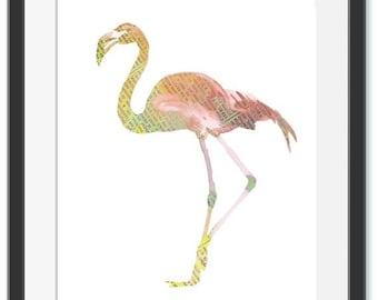 Flamingo Print Newspaper Print  Instant Download Printable Art