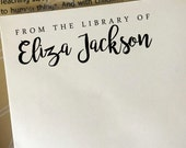 From The Library Of Stamp, Personalized Book Stamp, Custom Wooden Stamp, Rubber Stamp, Librarian Stamp, Book Name Stamp