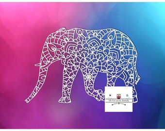 SALE - Elephant Mandala papercutting template with commercial licence