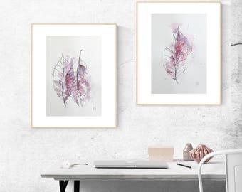 Set of 2 Minimalist Watercolor Painting, Abstract Prints Set, Set of Two, Abstract Botanical Watercolor, Minimalist Home Decor, wine waterco