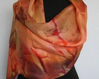 Hand-painted silk scarf 170 x 45 cm, etamine, in warm autumn tones with shibori technique (L-0180)
