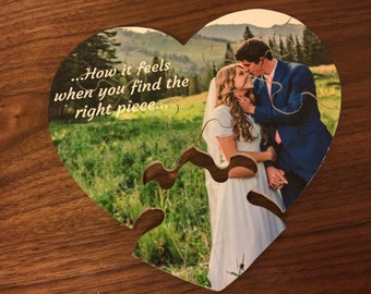 "Personalized Wood Heart Puzzle!(8"" X 8.5"" with 8 pieces) Hand-crafted Valentines day Personalized Puzzle Wood heart photo Puzzle Personalize"