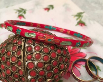 Red cloisonné bracelet, bright red cloisonne bracelet, cloisonne, bangle bracelet, gifts under 10, comes with two enamel rings, red bracelet