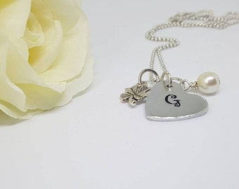 Personalised Initial Heart Necklace, Clover Good Luck Necklace, Four Leaf Clover Pendant, Good Luck Necklace, Hand Stamped Necklace