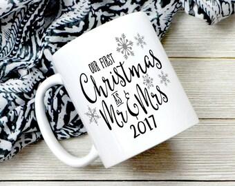 Our First Christmas As Mr And Mrs Coffee Mug - Couples Mug - Couples Christmas Gift - Newly Wed Gift - Mr - Mrs - Cute Coffee Mug