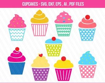 Cupcakes SVG Cut Files,DXF, Cupcake clipart , Cupcakes vector, Cupcakes , Craft/card embellishments, cricut, Cupcakes SVG , digital download