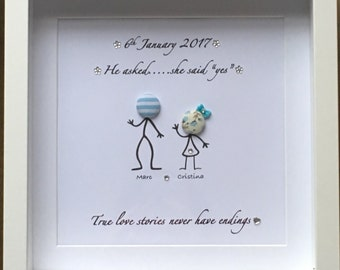 personalised engagement frames keepsake gift present love engaged