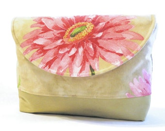 Pink purse - pink shoulder bag - summer purses - flower purse - gift ideas for her - purse bags - purse with pockets - fabric purses