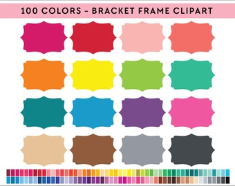 100 Bracket Frames Clipart, Commercial use, PNG,  Digital clip art, Digital images, Rainbow digital scrapbooking clip art, frames
