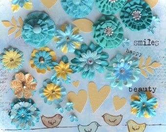 SALE - Sunny Skies: Scrapbooking Layout Kit in Blue and Yellow With Papers & 3D Fabric Flower Embellishments, Glitter Hearts, Washi Tape