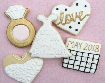 Wedding Engagement Theme Decorated Sugar Cookies