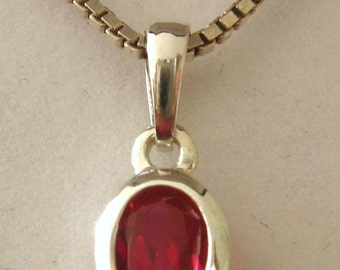 Solid 925 Sterling Silver JULY Birthstone Oval RUBY Pendant