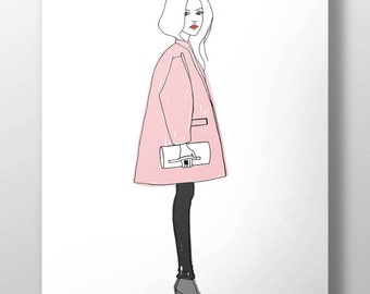 Pink - original artwork, posters, illustrations of fashion, prints, pictures, illustrations, portraits, illustrations style fashion