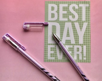 Candy Stripe Gel Pen - Lilac