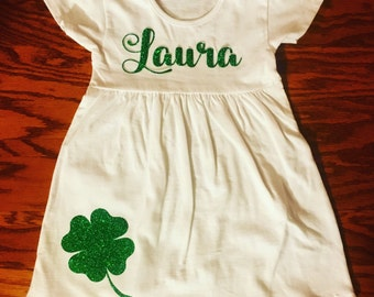 St. Patrick's Day dress for little girls. St. Patty glitter dress for toddler and babies. Shamrock sparkle dress for children.