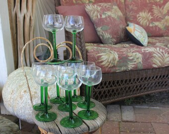 1970's Vintage J G Durand Luminarc of France 4 1/4 ounce Green Stemmed Wine Glasses - Set of Ten ( 10 ) - Excellent Condition