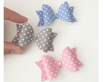 Polka Hair Bow, girl/baby hair clip, Pink Bow, Grey Bow, Blue Bow, Mini Bow for girls, Baby Headband
