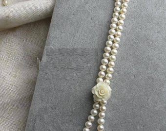 Quality Elegent Genuine Cultured Freshwater 6mm white pearl necklace white 80cm